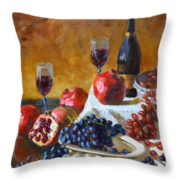 Grapes And Pomgranates Throw Pillow