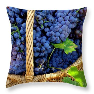 Grapes In A Basket Throw Pillow by Lainie Wrightson