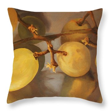 Grapes On Foil Throw Pillow