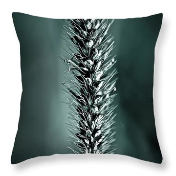 Grass Seedhead In Deep Cyan Throw Pillow