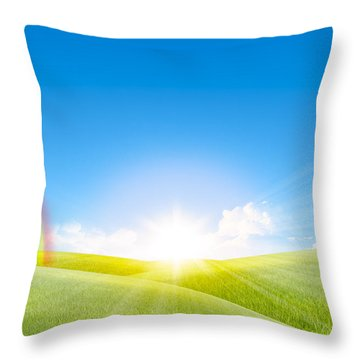Grassland In The Sunny Day With Rainbow Throw Pillow by Setsiri Silapasuwanchai