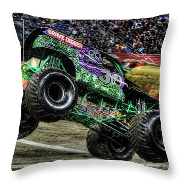 Grave Digger At Ford Field Detroit Mi Throw Pillow by Nicholas  Grunas