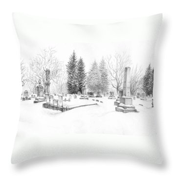 Graveyard In The Snow Throw Pillow