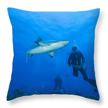 Gray Reef Shark With Divers, Papua New Throw Pillow by Steve Jones