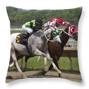 Throw Pillow featuring the photograph Gray Vs Bay by Alice Gipson