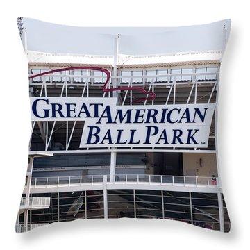 Great American Ball Park Sign In Cincinnati Throw Pillow by Paul Velgos