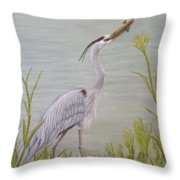 Great Blue Heron Throw Pillow by Jim Ziemer