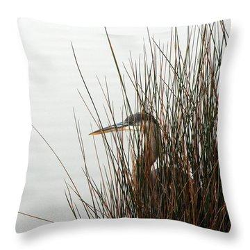 Great Blue Heron Throw Pillow by Kay Lovingood
