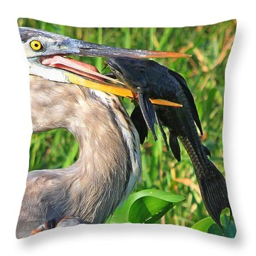 Great Blue Heron With Catfish Throw Pillow
