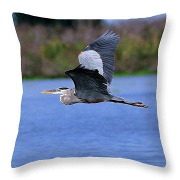 Great Blue Inflight Throw Pillow