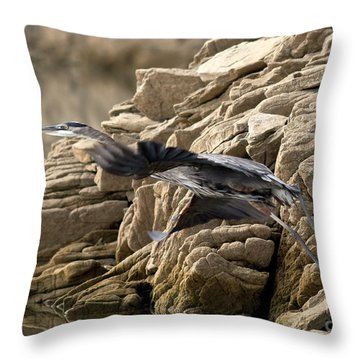Great Blue Shoving Off Throw Pillow by Douglas Stucky