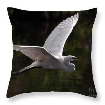 Throw Pillow featuring the photograph Great Egret Flying by Art Whitton