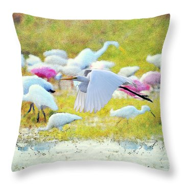 Throw Pillow featuring the photograph Great Egret Flying by Dan Friend