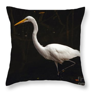 Throw Pillow featuring the photograph Great Egret Hunting by Art Whitton