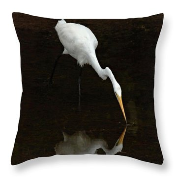 Great Egret Reflection Throw Pillow by Bob Christopher