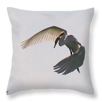 Great Egret Successful Fishing Throw Pillow