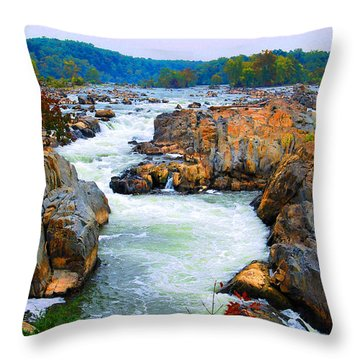 Great Falls On The Potomac River In Virginia Throw Pillow by Eva Kaufman