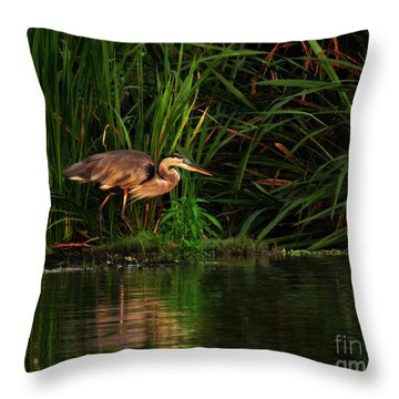 Throw Pillow featuring the photograph Great Heron by Deborah Smith