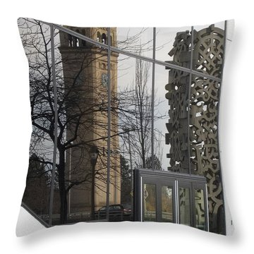Great Northern Clocktower Reflection - Spokane Washington Throw Pillow by Daniel Hagerman