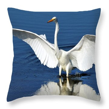 Great White Egret Spreading Its Wings Throw Pillow