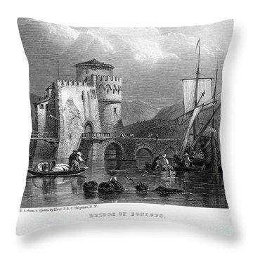 Greece: Negropont, 1833 Throw Pillow by Granger