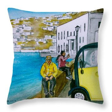 Greek Island Of Mykonis Throw Pillow by Frank Hunter