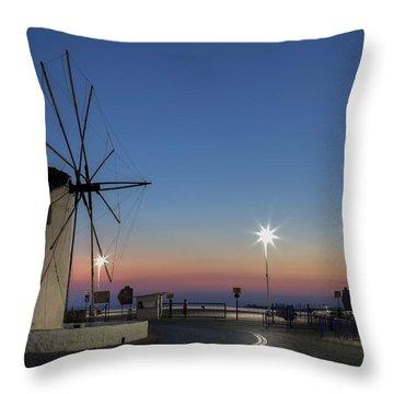 greek windmill - Cyclades Throw Pillow