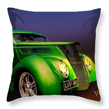 Green 37 Ford Hot Rod Decked Out For A Tropical Saint Patrick Day In South Texas Throw Pillow by Chas Sinklier