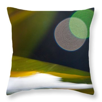 Green And Gold Abstract Throw Pillow by Dana Kern