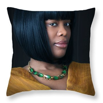 Green And Gold Throw Pillow by Eena Bo