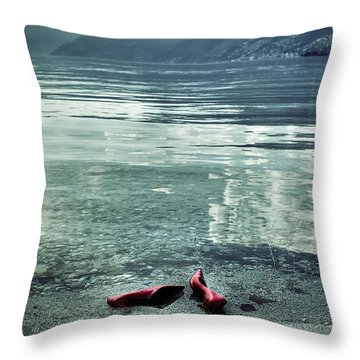 Green And Red Throw Pillow by Joana Kruse