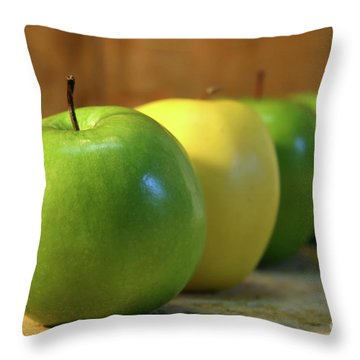 Green And Yellow Apples Throw Pillow by Sandra Cunningham