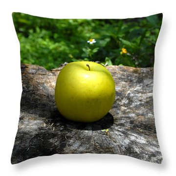 Green Apple Throw Pillow by David Lee Thompson