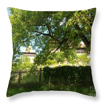 Throw Pillow featuring the photograph Green Arch by Ramona Matei