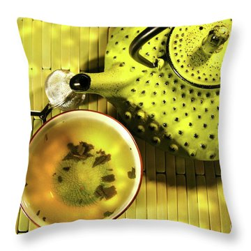Green Asian Teapot With Cup  Throw Pillow by Sandra Cunningham