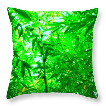 Green Bamboo Forest  Throw Pillow