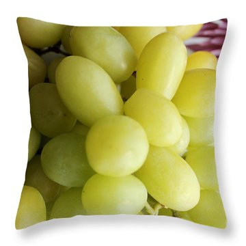 Green Grapes And Purple Mum Throw Pillow by Barbara Griffin