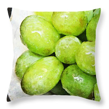 Green Grapes On A Plate Throw Pillow by Andee Design