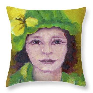 Green Hat Face Throw Pillow by Rachel Hershkovitz