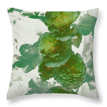 Green Hollyhocks Throw Pillow