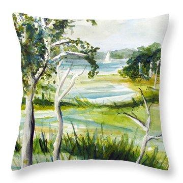 Green Land Throw Pillow by Clara Sue Beym