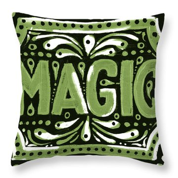 Throw Pillow featuring the painting Green Magic by Nada Meeks