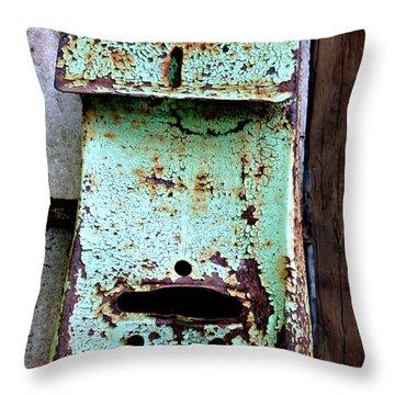 Green Mailbox Throw Pillow by Jo Sheehan