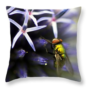 Green Metallic Fly On Globe Thistle Throw Pillow