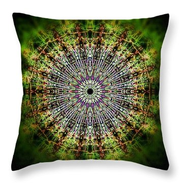 Green Mist Mandala Throw Pillow
