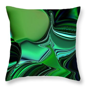 Throw Pillow featuring the digital art Green Nite Distortion 3 by Greg Moores