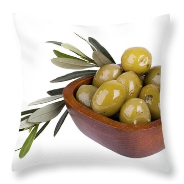 Green Olives Throw Pillow by Jane Rix