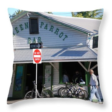 Green Parrot Bar In Key West Throw Pillow by Susanne Van Hulst
