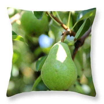 Green Pear Throw Pillow by Carol Groenen