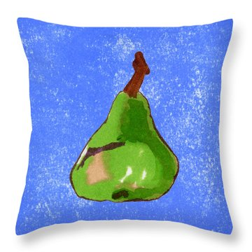 Green Pear On Blue Throw Pillow by Marla Saville